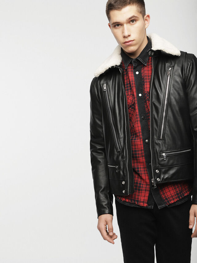 Diesel - L-NED, Black - Leather jackets - Image 5