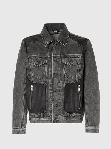 Trucker jacket with coated panels