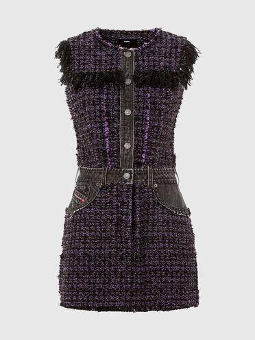 Bouclé dress with denim details