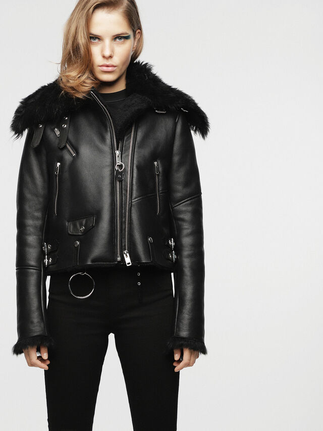 Diesel - L-TIA, Black Leather - Leather jackets - Image 1