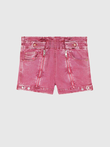 High-waisted shorts in overdyed denim