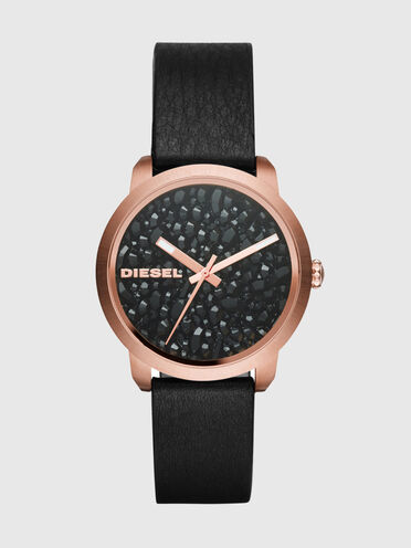 Black geode dial watch
