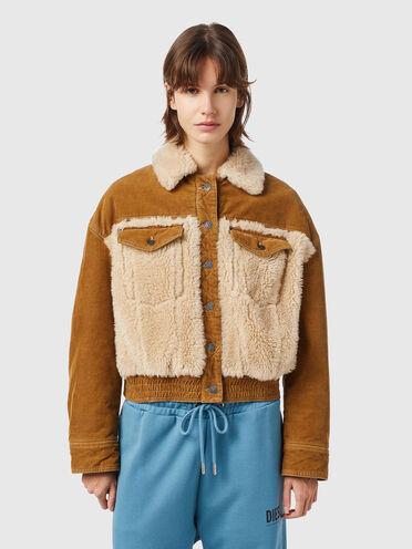 Trucker jacket in corduroy and teddy