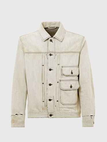 Denim jacket with leather patch
