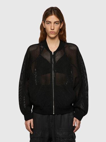 Open-knit bomber jacket