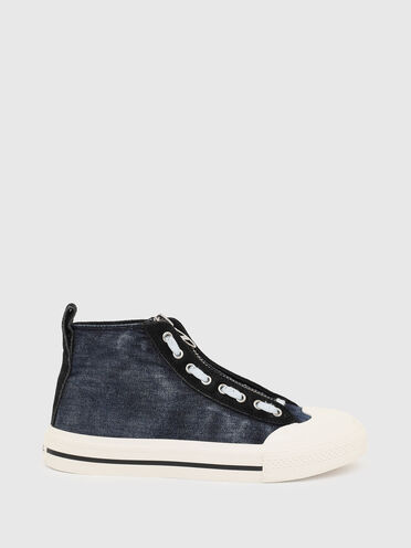 High-top sneakers in denim and suede