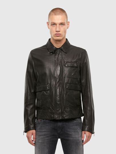 Diesel - L-LUC, Black - Leather jackets - Image 1