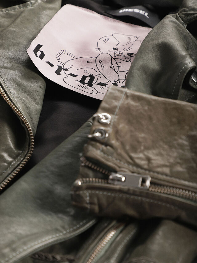 Diesel - L-SERY, Olive Green - Leather jackets - Image 5