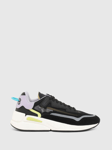 Unlined sneakers in mesh and suede