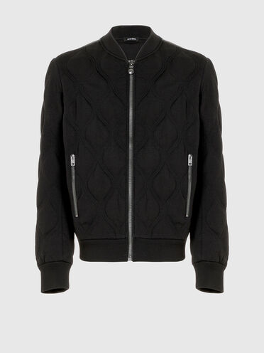 Bomber jacket in quilted knit