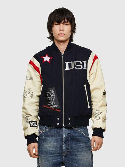 Diesel - L-COHEN, Blue/White - Leather jackets - Image 1