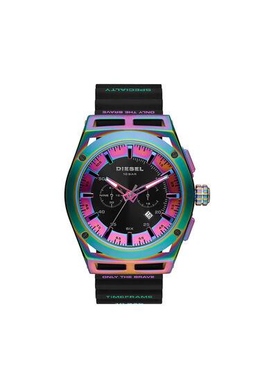 Timeframe chronograph black silicone watch