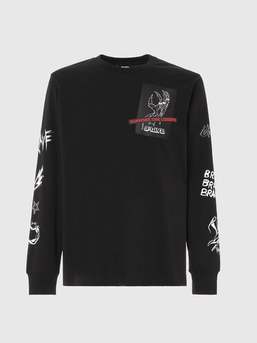 Long-sleeve T-shirt with slogan tape