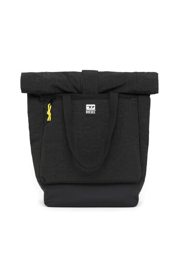 Roll-top backpack in washed-effect nylon