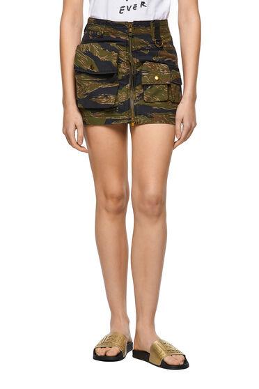 Skirt with tiger-camo print