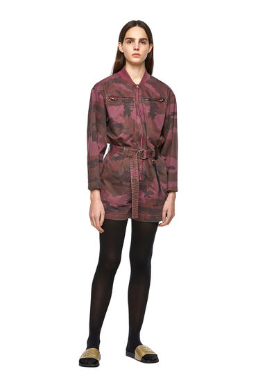 Garment-dyed playsuit in camo twill