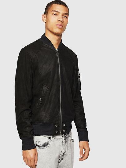 Diesel - L-NIKOLAI, Black - Leather jackets - Image 1