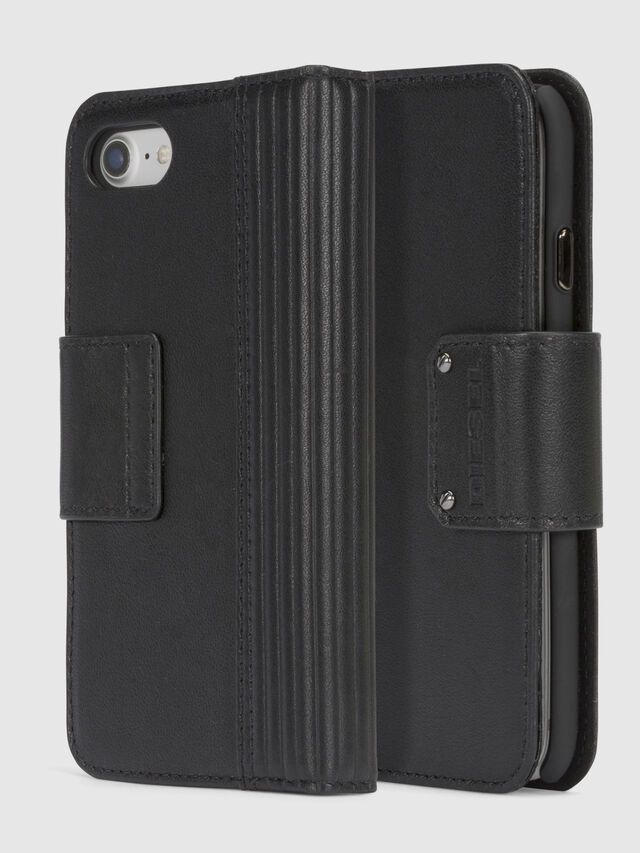 Diesel BLACK LINED LEATHER IPHONE 8/7 FOLIO, Black - Flip covers - Image 1