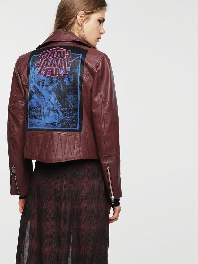Diesel - L-AIMEE, Burgundy - Leather jackets - Image 2
