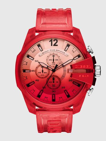 Mega Chief chronograph red polyurethane watch