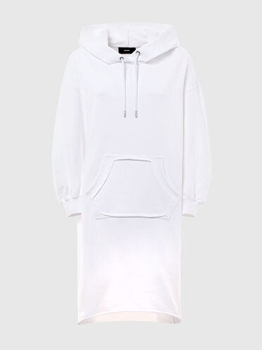 Long hoodie dress with cut-out pocket