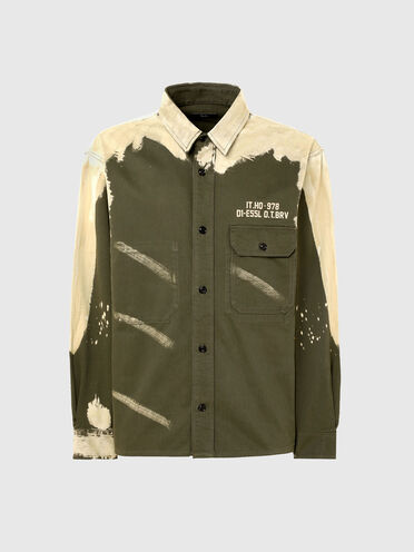 Satin shirt with bleached effect