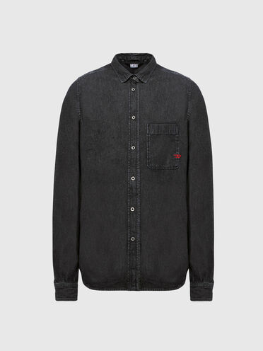 Denim shirt with D logo embroidery