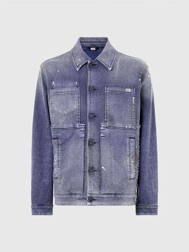 Workwear jacket in overdyed velvet denim