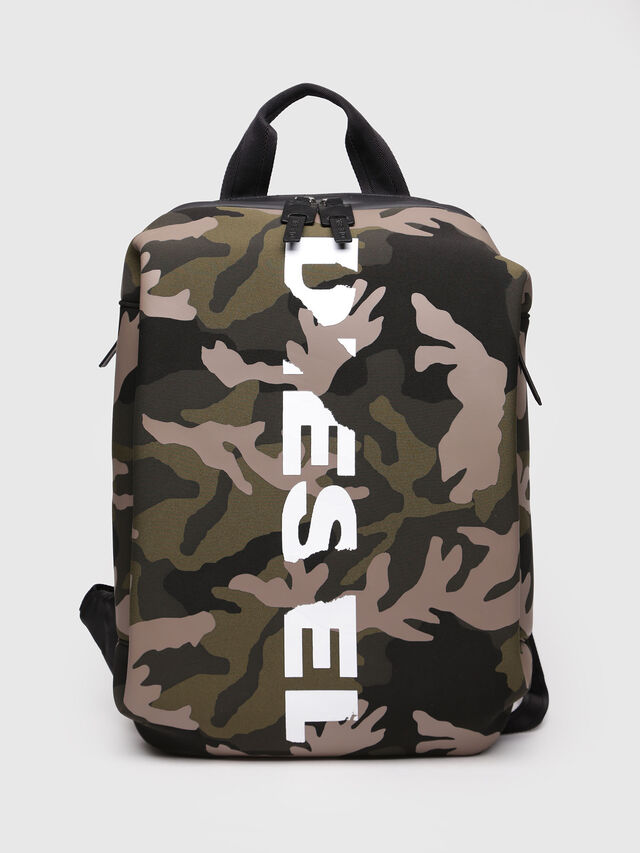 Diesel - F-SUBCAMOU BACK, Green Camouflage - Backpacks - Image 1