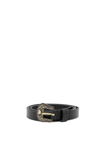 Leather belt with floral embossed hardware