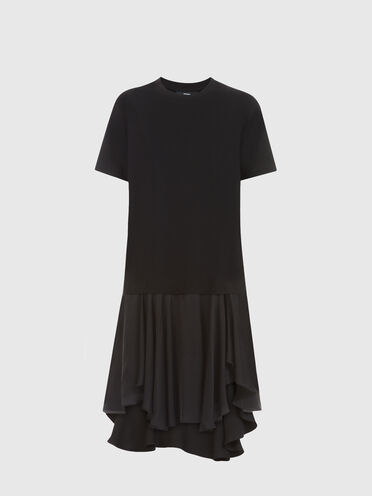 Asymmetric dress in jersey and satin