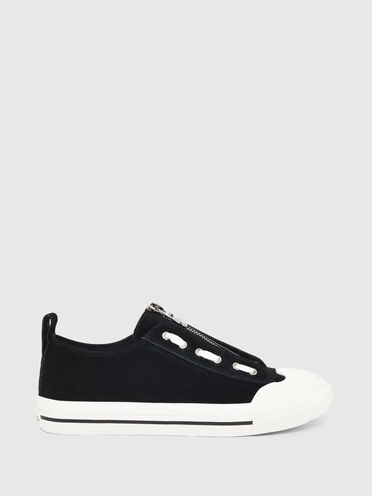 Low-top sneakers in suede and leather
