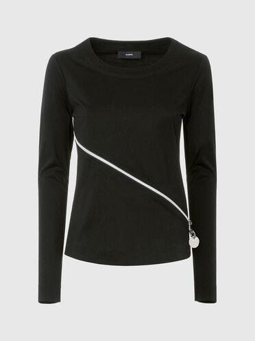 Zip-detailed long-sleeve top
