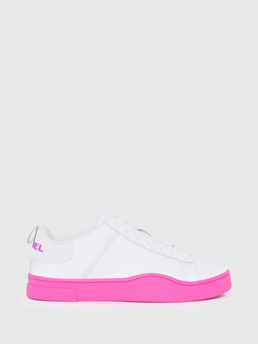 Leather sneakers with contrast sole