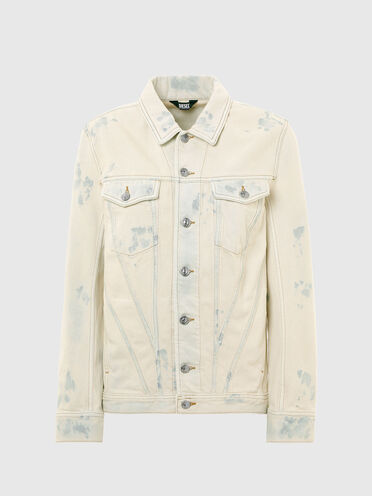 Denim jacket with bleached effects