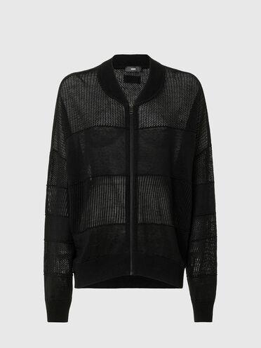 Bomber jacket in linen knit