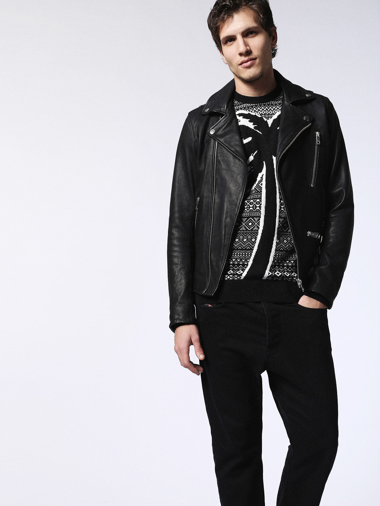 00SIYP0IAIV Leather jackets Man L-GIBSON-1 by Diesel Black