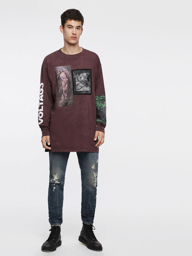 Diesel T-LUCAS-LS-XF, Burgundy - T-Shirts - Image 1