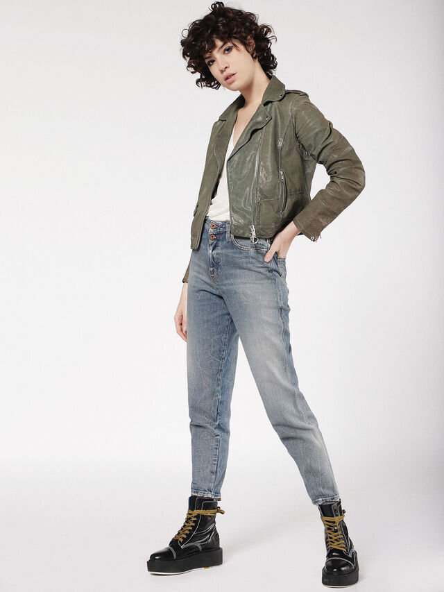 Diesel - L-SERY, Olive Green - Leather jackets - Image 6