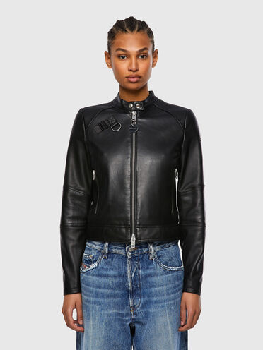 Leather biker jacket with quilting