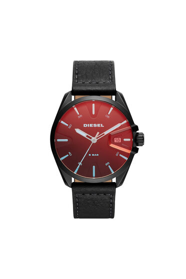 MS9 three-hand date black leather watch