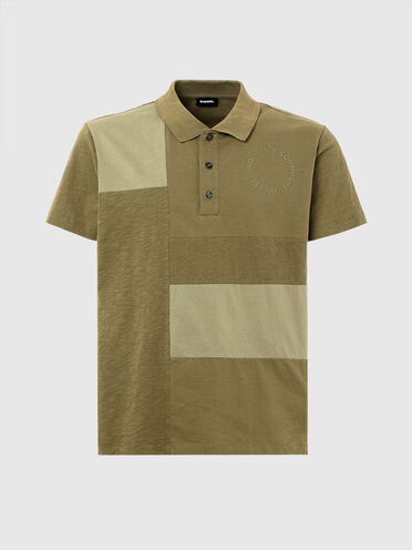 Polo shirt with patchwork design
