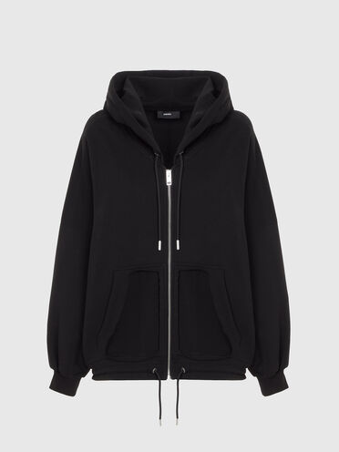 Zip-up hoodie with cut-out pockets