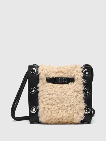 Mini bucket bag in faux fur