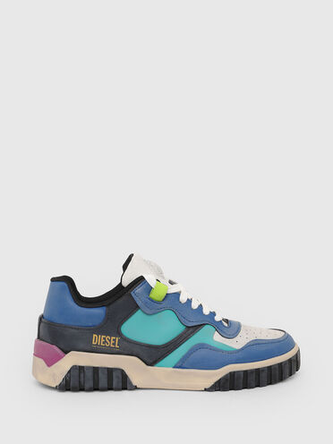 Low-top sneakers in treated leather