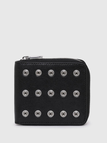 Zip-around wallet in studded leather