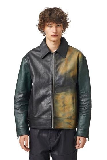 Leather jacket with spray finish