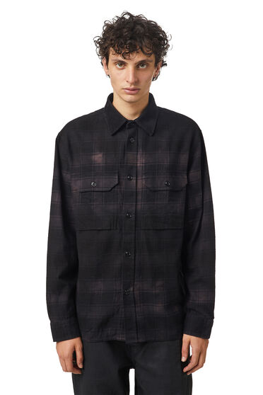 Check flannel shirt with treated effect
