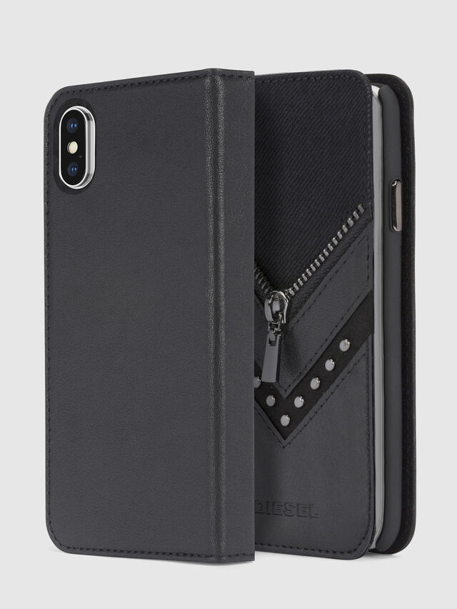 BLACK DENIM/STUD/ZIPPER IPHONE X FOLIO, Black