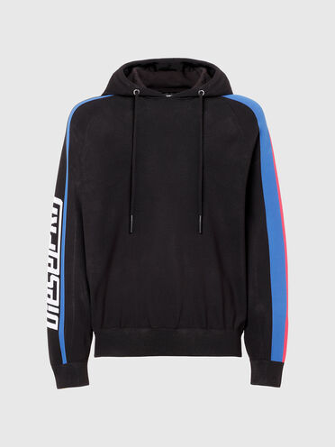 Knit hoodie with sporty bands